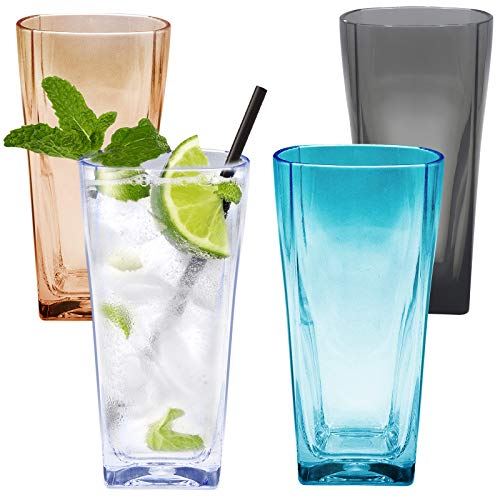 Ulable 12 Oz Reusable Clear Plastic Water Tumblers, Stackable Shatterproof Clear Drinking Glasses, Unbreakable Portable Cups, Dishwasher-Safe and BPA Free, Set of 4 (Multiple Color)