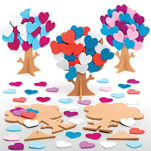 Baker Ross Herz Baum Deko Bastelsets für Kinder (5 Stück) Kreativsets zum Basteln und Dekorieren zu Valentinstag