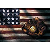 DIY 5D Diamond Painting Kits for Adults,Large Diamond Sports Art for Home Wall Decor Baseball American Flag 17.7x11.8in 1 Pack by Bemaystar