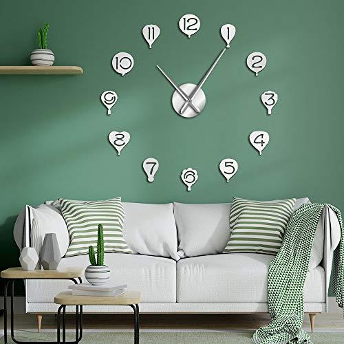 Reloj de pared flotante con globo de aire caliente para manualidades, gigantes, para habitación infantil, movimiento silencioso, decorativo, sin marco, grande, 47 pulgadas