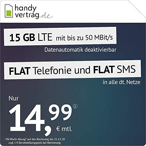 handyvertrag.de LTE All 15 GB - monatlich kündbar (Flat Internet 15 GB LTE mit max. 50 MBit/s mit deaktivierbarer Datenautomatik, Flat Telefonie, Flat SMS und EU-Ausland, 14,99 Euro/Monat)