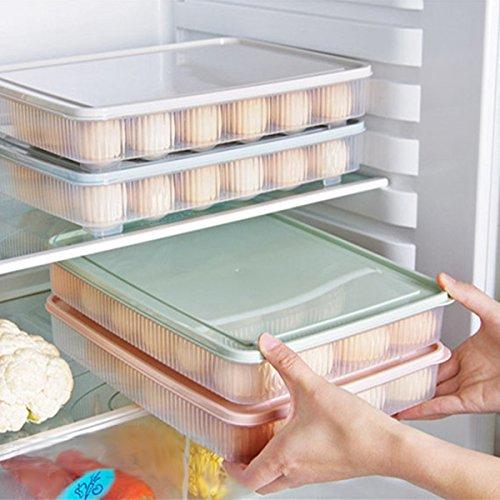 Kirmax Kunststoff Ei Box Kueche Ei Aufbewahrungsbox 24 Gitter Eier Halter stapelbar Gefrierfach Speicherorganisatoren Ei Lagerbehaelter - Gruen