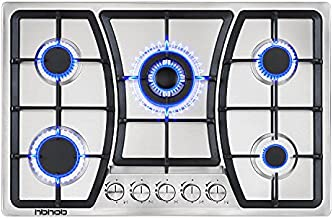 Gas Cooktop 30 inches 5 Burners Gas Stove gas hob stovetop Stainless Steel Cooktop 5 Sealed Burners Cast Iron Grates Built-in Gas Stove Top LPG/NG Gas Cooktop Thermocouple Protection and Easy to Clean