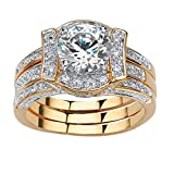 Palm Beach Jewelry 18K Yellow Gold Plated Round Cubic Zirconia Vintage Style Jacket Bridal Ring Set Size 7