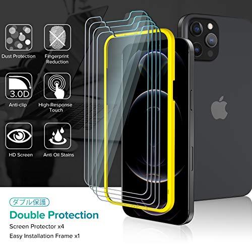 ivoler 4 Stück Panzerglas Schutzfolie Kompatibel für iPhone 12 Pro Max 6.7 Zoll, Panzerglasfolie Mit Positionierhilfe, 9H Härte, Anti-Kratzen, Anti-Bläschen, Hülle freundlich, Kritall-Klar