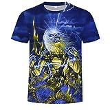 Camiseta Heavy Metal Music Cool Classic Rock Band Skull Head Fashion Men 3D DJ Shirt-T314_Metro