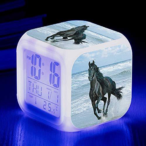 HUA-Alarm clock Liefern Tier Pferd Farbe Farbe Kreative Neue Kleine Wecker, Um Die Benutzerdefinierte LED Elektronische Alarm Zu Kartieren 8X8cm/ 14.