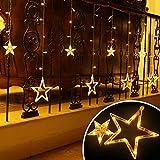 LED Lichterkette 12 Sterne, Lichtervorhang weihnachtslichter Sternenvorhang 138 LEDs 8 Modi Für Innen Außen, Weihnachten, Party, Hochzeit, Garten, Balkon, Deko (Warmweiß) - 4