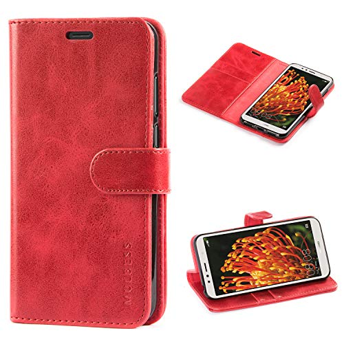 Mulbess Handyhülle für Huawei Y6 2018 / Honor 7a Hülle Leder, Huawei Y6 2018 Handy Hüllen, Vintage Flip Handytasche Schutzhülle für Huawei Y6 2018 / Honor 7a Case, Wein Rot