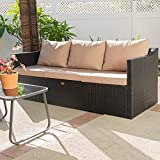 Barton Madison Outdoor Wicker 3-Person Sofa Patio Rattan 3 Seater Sofa Chair W/Cushions, Additional Seats for Sectional Sofa, Porch and Poolside, Black/Beige