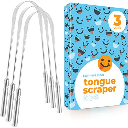 Tongue Scraper (3 Pack), Reduce Bad Breath (Medical Grade), Stainless Steel Tongue Cleaner, (Personal Orthodontic Supplies) Metal Tounge Scrappers, Tounge Scraper Cleaner Dental Oral Care Fresh Breath