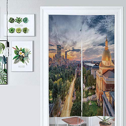 SUPNON Hanging Japanese Noren Curtain Massachusetts USA Custom Made Curtain Doorway Panel Room Dividers for Partition Home Restaurant IS077533 W39.3 x L59