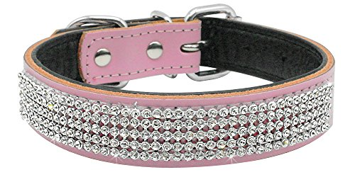 UMS Rhinestones Dog Collar - Soft Bling Genuine Padded Leather Made Sparkly Crystal Diamonds Studded -Perfect for Pet Show & Daily Walking Pink 14-18'
