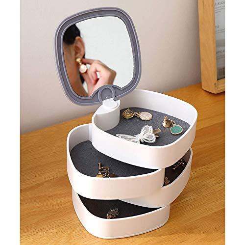 Organizador para mujeres y niñas, pequeña caja organizadora de joyas, organizador de viaje portátil para mujeres y niñas, organizador redondo giratorio de 4 capas para mujeres y niñas, con espejo para