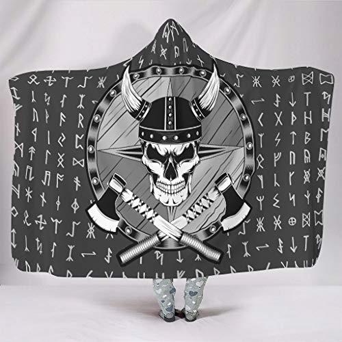 YOUYO Spark Vi-king - Manta con capucha y diseño de calavera, color blanco