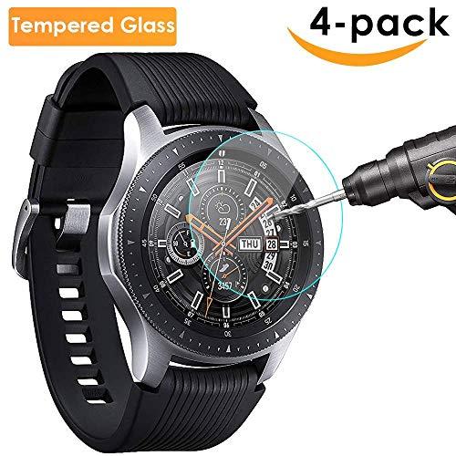Lynlon Samsung Galaxy Watch 46mm Panzerglas Bildschirmschutz Schutzfolie [4 Stück], Vollständige Abdeckung für Samsung Galaxy Watch 46mm / S3 Frontier / Classic, Hartglas Gehärtetem