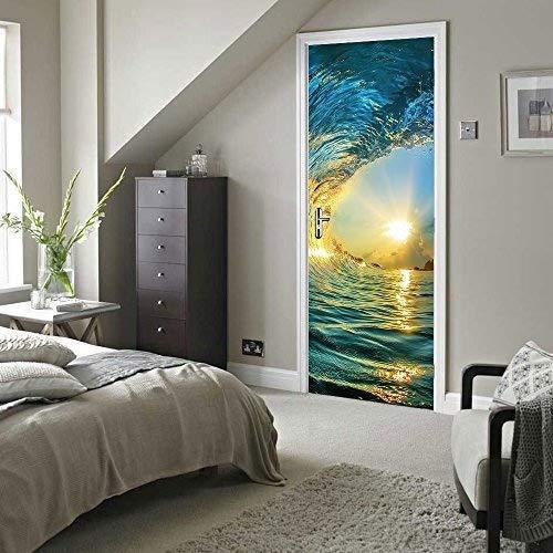 Walplus - Adhesivo decorativo para pared, diseño de olas de surf