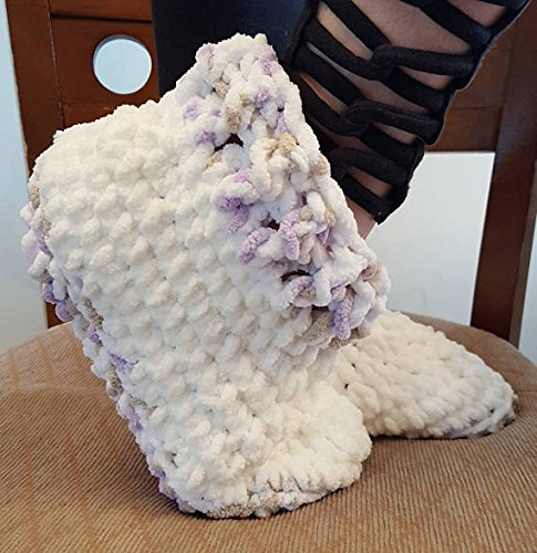 Crochet chunky soft slipper. Made by Bead Gs on AMAZON. Average size medium *These are NOT moisturizer slippers*