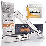 Maquinilla de afeitar Groomarang para barbero profesional y recta para afeitarse la barba, incluye funda de piel, peine para barba