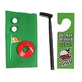 JIACUO Lustige Toilette Badezimmer Golf Zeit Mini Game Play Putter Neuheit Gag Geschenkmatte Set