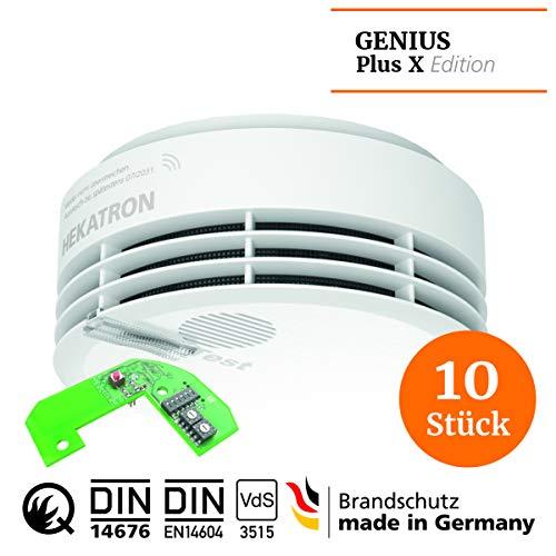 Hekatron 31-5000030-02-01 weiß Rauchmelder, Genius Plus X 3V, 10er Pack inkl. Funkmodule