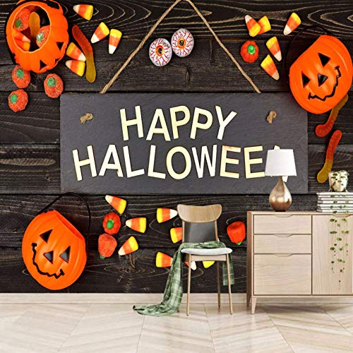 Msrahves fotomurales decorativos pared Halloween dibujos animados calabazas Papel Pintado Fotográfico Fleece no-trenzado Salón Dormitorio Despacho Pasillo Decoración murales decoración de paredes mode