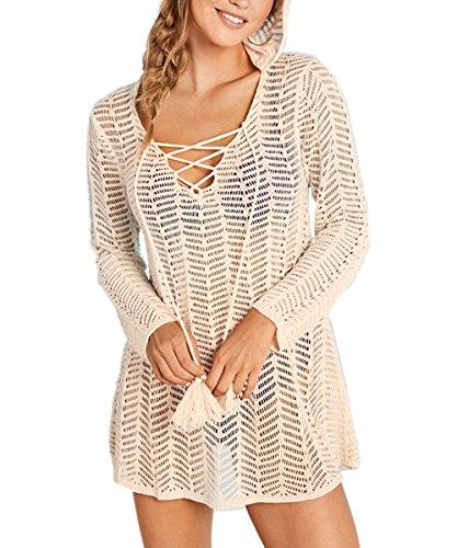 Preisvergleich Produktbild L-Peach Damen Sommer Crochet Tunika Pareo Strandkleid Bikini Coverups One Size