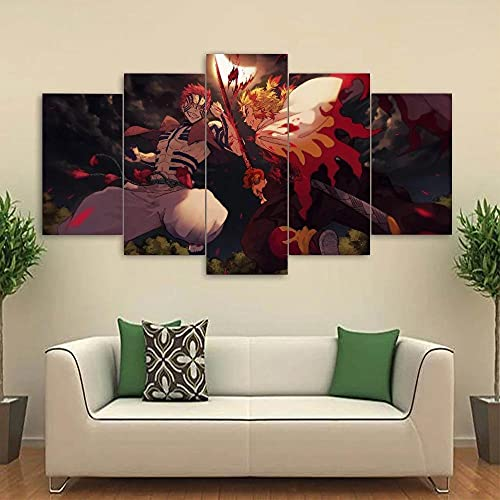 BHJIO Impresiones sobre Lienzo 5 Cuadros En Lienzo Modernos Dormitorios Murales Pared Lona XXL Grande Hogar Cuadros Decora Salón Piezas Asesino De Demonios