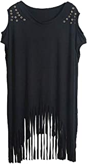 Punk Rock Clothing for Women Long Tunic Dresses Fringe Tshirt Stud
