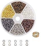 FLZONE Anelli Aperti di Salto,6 Colori Anelli Aperti Misti Anello Aperto per il Collegamento di Collane,Gioielli Fai-da-te Making-5MM