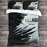 Resident Evil Village - Juego de ropa de cama infantil, diseño de resident Evil con tema de supervivencia, 3 piezas, regalo de cumpleaños (Biohazard1, 135 x 200 cm + 50 x 75 cm x 2)