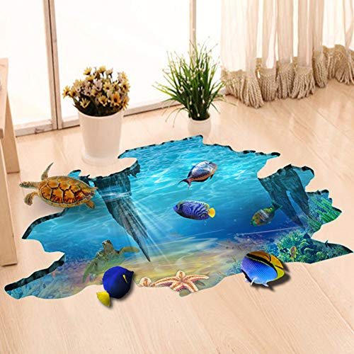 EUGNN 3D Floor Stickers,Underwater World Wall Decals Removable PVC Magic 3D Ocean Wall Stickers for Under The Sea Theme Decor Bathroom Floor Sticker Nursery Bedroom Decor