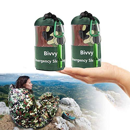 EAHUHO Notfallzelt, Biwaksack Survival Schlafsack für Erste Hilfe, PE Notfalldecke Bushcraft Outdoor Camping Wandern Ultraleicht hitzeabweisend Kälteschutz