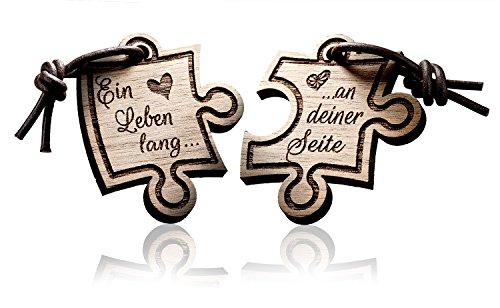 FORYOU24 2er Set Schlüsselanhänger Puzzle aus Holz mit Gravur. EIN Leben lang……