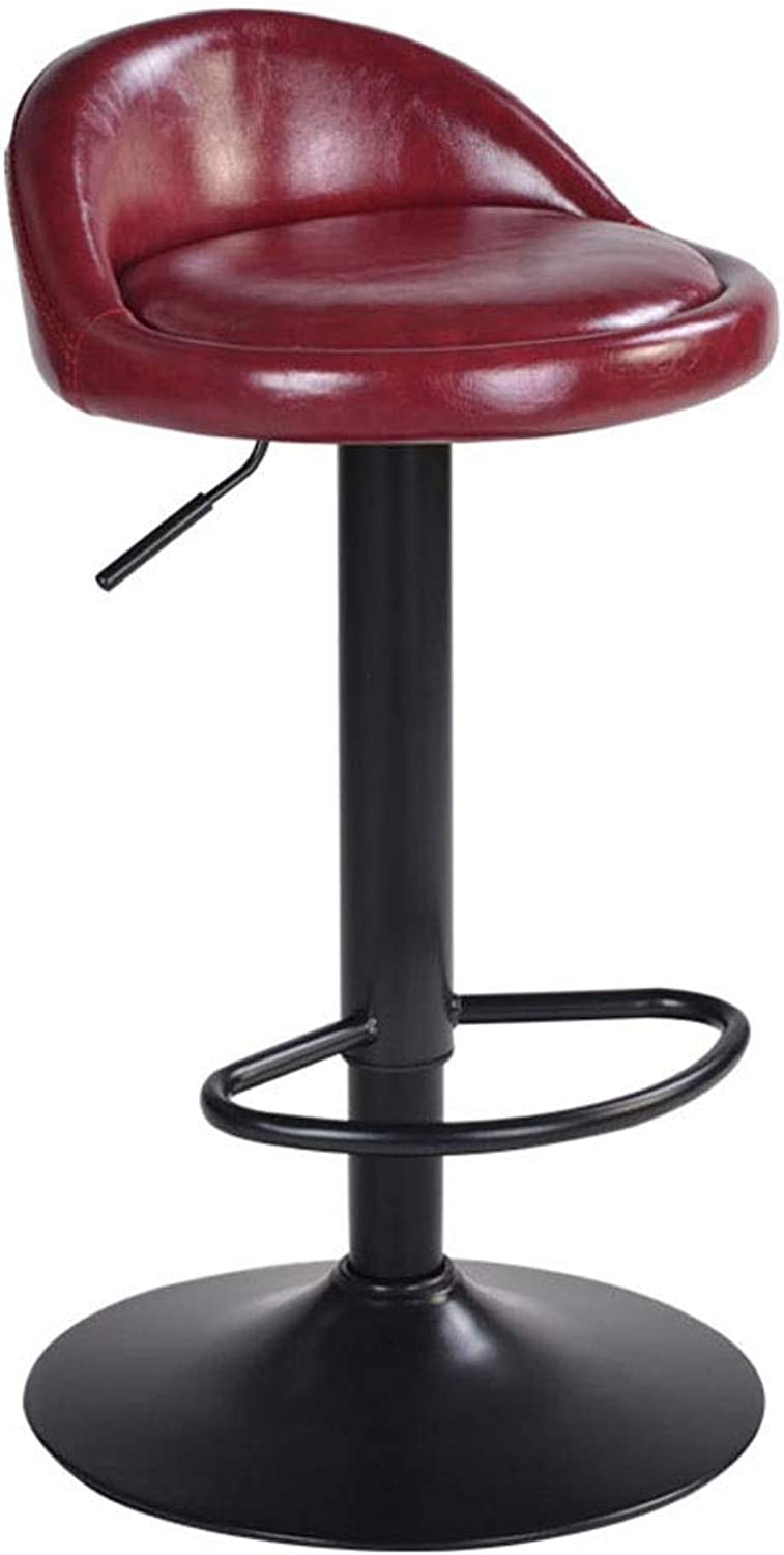 Bar Stools Breakfast Dining Stool Counter High Chair Adjustable Swivel Gas Lift PU Chair Seat Chrome Steel Footrest & Base (color   Red)