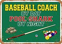 2個 20 * 30 CMメタルサイン-昼は野球コーチ、夜はプールシャーク メタルプレート レトロ アメリカン ブリキ 看板