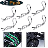 HobbyPark RC 90-Degree Angle Body Clips Bent Springy Pins for All 1/10 Scale Model Car Truck Crawler Truck (20-Pack)