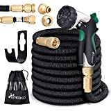 TRESKO Expandable Garden Water Hose Pipe- 8-Pattern Spray Gun Anti-leakage with Brass Fittings, Triple Latex Core & Hose Hook/Hanger, Magic-hose pipes (100FT)