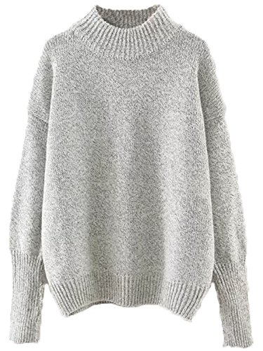 Milumia Women's Crew Neck Ribbed Trim Drop Shoulder Knit Basic Sweater One Size Grey