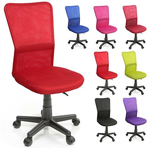 TRESKO Silla de Oficina Escritorio giratoria, Disponible en 7 Variantes de Colores, con Ruedas para Suelos Duros, Regulable en Altura de Forma Continua, Asiento Acolchado, Respaldo ergonómico (Rojo)