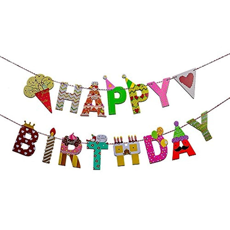 Willcan Happy birthday party celebration decoration letter carton banner flag icecream