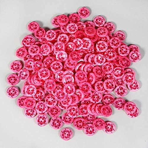 14MM 100PCS Transparant Gemengde Bloemen Vorm Mooie Gekleurde Hars Knopen Jas Laarzen Naaien Kleding Accessoire Decoratie Knop Fuchsia
