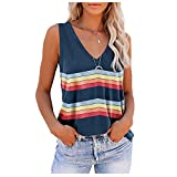 Iusun Women Sleeveless T-Shirt Tops Vest Blouse Summer Casual Button V-Neck Off Shoulder Stripe Printed Stitching Tunic