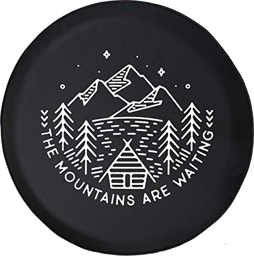 556 Gear The Mountains are Waiting Cabin Pine Trees Lake Spare Tire Cover fits SUV Camper RV Accessories Black 35 in