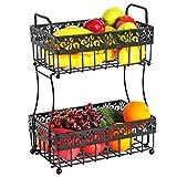 Fruit Basket, Kasunto 2 Tier Fruit Basket Bowl, Bread Vegetables Storage Holder Stand for Kitchen Countertop Dining Table, Black