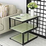 FCXBQ Table d'appoint en marbre d'imitation , Table Basse en Verre trempé à 3 Niveaux , Table d'appoint avec...