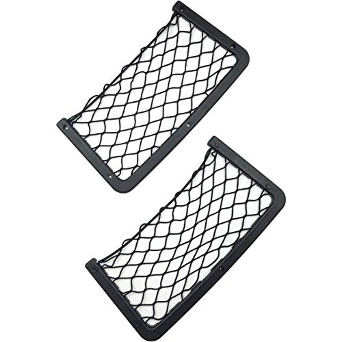 KYMY Elastic Netting for Storage,Universal Velcro Car Mesh Bag,Trunk Storage Netting Pocket,Lightweight Frame Mesh Net Pocket for Car and Bus,ABS Plastic Frame with Stretchable Mesh Net and Screws