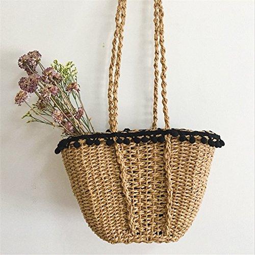 Ruier-hui Sommer Strandtasche,Korbtasche aus Stroh,Umhängetasche mit Bommeln,Hellbraun