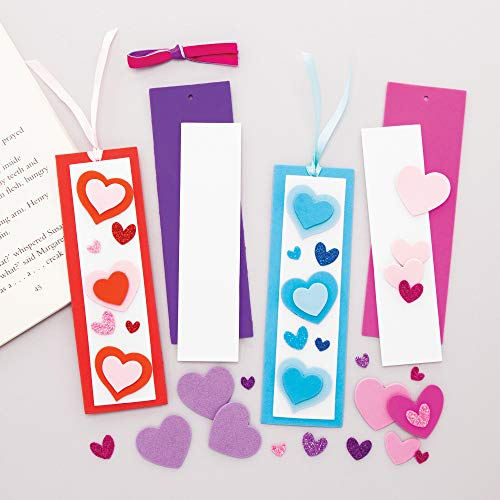 Baker Ross AT363 Heart Mix & Match Bookmark Kits - Pack of 8, Make Your Own Book Marker for Creative Arts and Crafts Projects, and Learning to Read or World Book Day Activities
