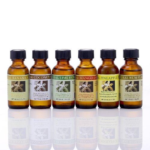 Natural Tropical Flavors (1 FL OZ) Pack of 6 - Rum, Mango, Coconut, Pineapple, Banana, Lime